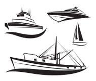 Grupo do navio e do barco do preto do vetor. Fotografia de Stock Royalty Free
