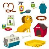 Grupo do objeto do cuidado do cão, artigos e material, ilustração dos desenhos animados do vetor Foto de Stock