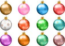Grupo do ornamento da quinquilharia do Natal imagem de stock