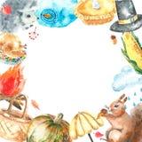 Grupo do outono da aquarela Imagem de Stock
