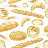 Grupo do pão da aquarela Teste padrão sem emenda tirado mão, fundo ilustração stock