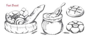 Grupo do pão Ilustração desenhada mão do vetor ilustração do vetor