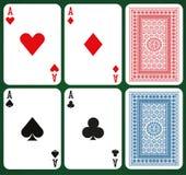 Grupo do pôquer com cartões isolados - áss e partes traseiras de cartão Fotos de Stock Royalty Free