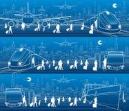 Grupo do panorama do transporte Os povos obtêm no trem que sae do avião Os passageiros vão no trem da saída do ônibus Os seres hu ilustração royalty free