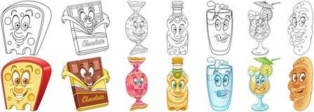 Grupo do petisco Alimento e bebidas ilustração stock