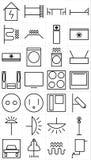 Grupo do pictograma home dos dispositivos bondes ilustração stock