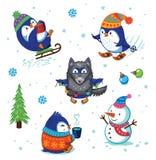 Grupo do pinguim do Natal Fotos de Stock