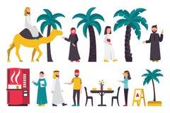 Grupo do plano de Dubai Isolado no fundo branco, ilustração do vetor dos povos Fotos de Stock