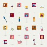 Grupo do plano do instrumento da cozinha. Coleção de cozinhar ferramentas. Fotos de Stock