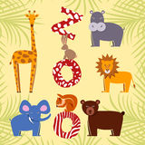 Grupo do plano dos animais Animais do jardim zoológico Ilustração Royalty Free