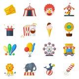 Grupo do plano dos ícones do circo Imagens de Stock