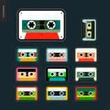 Grupo do plano dos remendos das cassetes de banda magnética Imagem de Stock Royalty Free