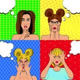 Grupo do pop art de caras do amotional das mulheres ilustração stock
