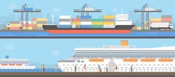 Grupo do porto marítimo ilustração do vetor