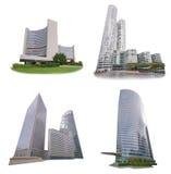 Grupo do prédio de escritórios isolado no fundo branco Fotos de Stock Royalty Free