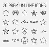 Grupo do prêmio de linha ícones da estrela ilustração royalty free