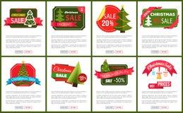 Grupo do preço quente 50 da venda do Natal fora dos cartazes Foto de Stock