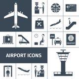 Grupo do preto dos ícones do aeroporto ilustração royalty free