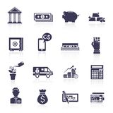 Grupo do preto dos ícones do serviço de banco Imagem de Stock Royalty Free
