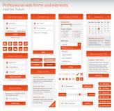 Grupo do profissional de formulários e de elementos alaranjados da Web Imagens de Stock Royalty Free