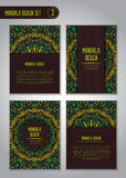Grupo do projeto da mandala da natureza Elementos decorativos do vintage Imagens de Stock