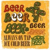 Grupo do projeto de tipo escrito à mão para o tema da cerveja Fotografia de Stock Royalty Free