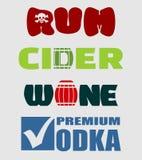 Grupo do projeto do logotipo do álcool Conceito da tipografia para o vinhedo ilustração stock