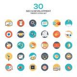 Grupo do projeto liso moderno SEO e dos ícones do desenvolvimento Foto de Stock Royalty Free