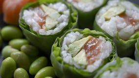 Grupo do rolo do sushi e de sushi video estoque