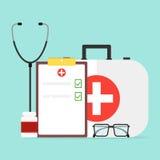 Grupo do ` s do doutor, jogo médico Vidros, estetoscópio, embalagem das tabuletas ilustração stock