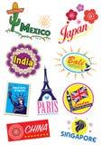 Grupo do selo do ícone do marco do curso Fotografia de Stock Royalty Free