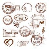 Grupo do selo do dia do ` s da mãe ilustração stock