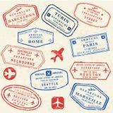 Grupo do selo do passaporte ilustração stock