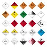 Grupo do sinal do perigo da estrada Fotografia de Stock
