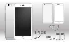 Grupo do smartphone móvel branco com a tela vazia no fundo branco, de lado a lado Realístico, plano e ícones Imagens de Stock Royalty Free
