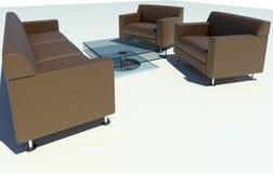 Grupo do sofá de Brown Imagens de Stock Royalty Free