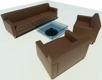 Grupo do sofá de Brown Fotografia de Stock Royalty Free