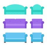 Grupo do sofá e da poltrona Fotos de Stock Royalty Free