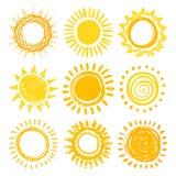 Grupo do sol da garatuja Imagens de Stock Royalty Free