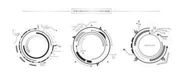 Grupo do sumário de projeto do objeto da tecnologia do ícone de 3 elementos de HUD olá! Foto de Stock Royalty Free