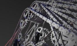 Grupo do sumário de rodas denteadas e de correntes da bicicleta Foto de Stock Royalty Free