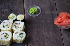 Grupo do sushi, alimento japonês fotografia de stock royalty free