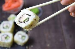 Grupo do sushi, alimento japonês imagens de stock royalty free