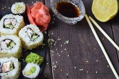 Grupo do sushi, alimento japonês imagem de stock
