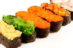 Grupo do sushi isolado Fotos de Stock
