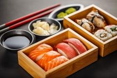 Grupo do sushi, rolos de sushi Imagem de Stock Royalty Free