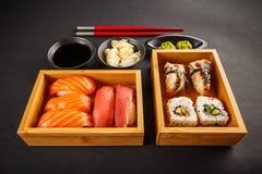 Grupo do sushi, rolos de sushi Fotografia de Stock Royalty Free