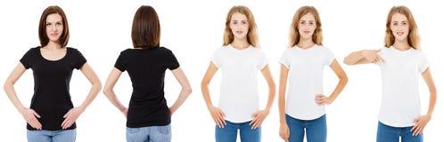 Grupo do t-shirt A parte dianteira e a morena e o louro traseiros da vista na camisa branca e preta de t isolaram-se Menina dois  fotos de stock royalty free