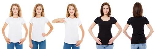 Grupo do t-shirt A parte dianteira e a morena e o louro traseiros da vista na camisa branca e preta de t isolaram-se Menina dois  foto de stock
