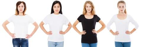 Grupo do t-shirt, placa, mulheres com mãos na correia, coreano asiático e mulher branca na camisa de t Luva branca e longa preta foto de stock